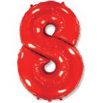 Шар (40''/102 см) Цифра, 8, Красный, 1 шт.